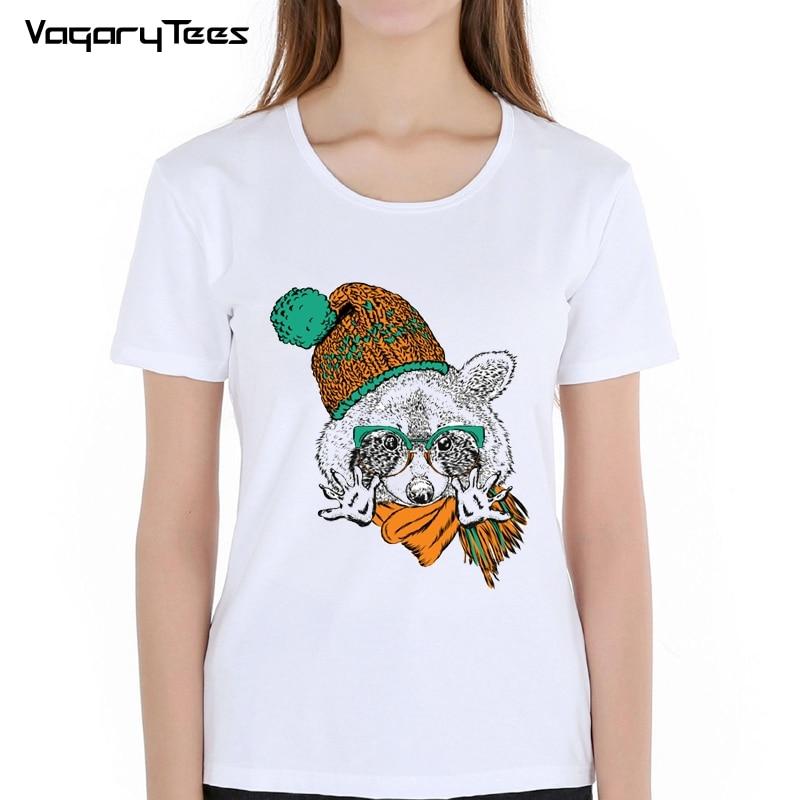 New 2018 T shirt for women So Cool Scarf Little Raccoon O-neck short sleeved women T-shirt Fashion design Tops