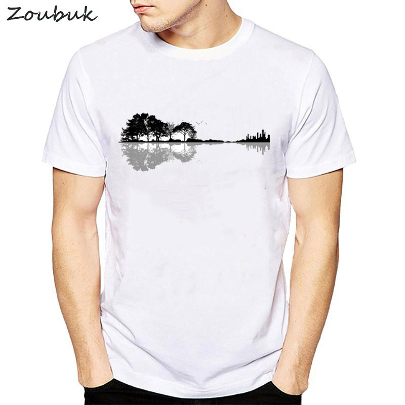 Novelty Nature Guitar   t     shirt   men women Fashion Summer Style Music instrument tree silhouette ukulele guitar shape tshirt tops
