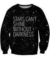 Stars Crewneck Sweatshirt Black Space Galaxy Painting Sweatshirt Long Sleeve Fashion Jumper Casual Tops Crew Neck