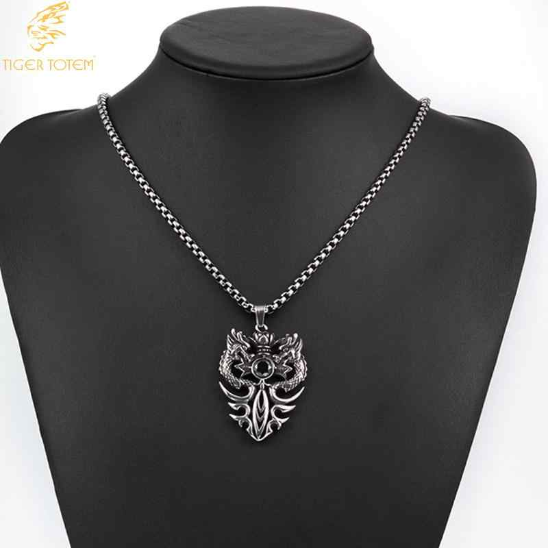 Moda biżuteria podwójny smok najwyższej jakości w stylu punk 316L ze stali nierdzewnej Ssangyong grać czarny naszyjnik z pereł mężczyzna darmowa wysyłka