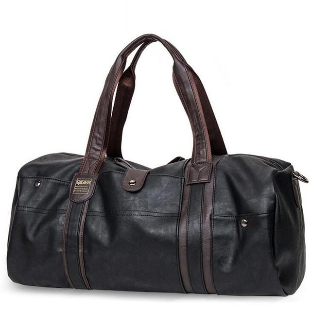 Men Large-Capacity Travel Bags Bucket Casual PU Portable Shoulder Bags High  Quality Men s Vintage fb023938587d3
