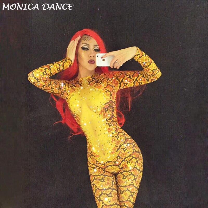 Body Stage Jumpsuit Salopette Discothèque Pour Mousseux Costumes Chanteur Sexy Partie Or 3d Serpent Femmes Dj Imprimé Cristaux Porter Ds Scénique qw1H1x06