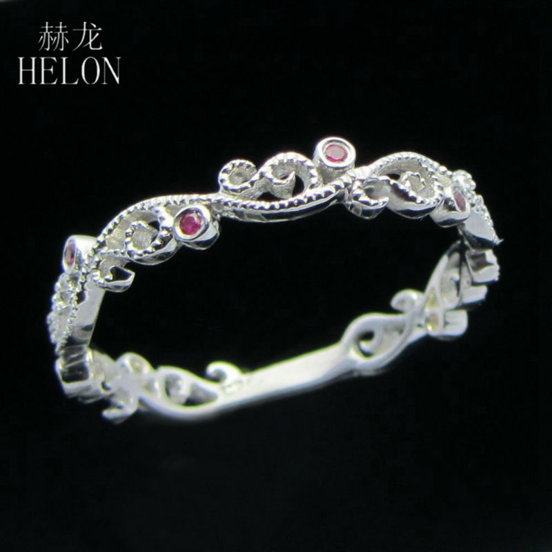 HELON Natural Ruby Engagement Wedding Ring Solid 14K White Gold Gemstone Fine Band Wedding Band Art Deco Retro Antique Milgrain natural ruby solid 14k white gold women girl engagement ring wedding band leaf art deco promise ring romantic cute thin