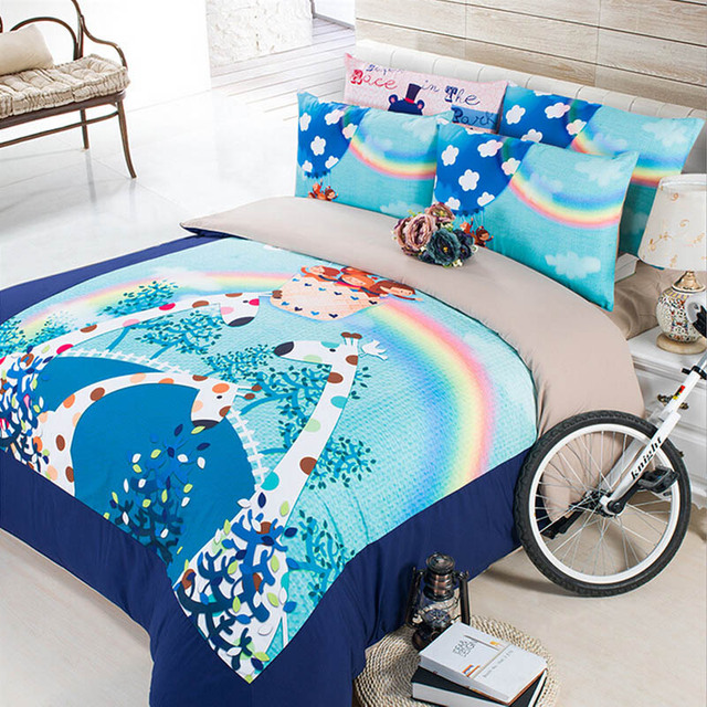 Greatest Cute Giraffe Elephant Frog Panda Rabbit Bedding Set Bright Color  ZC07