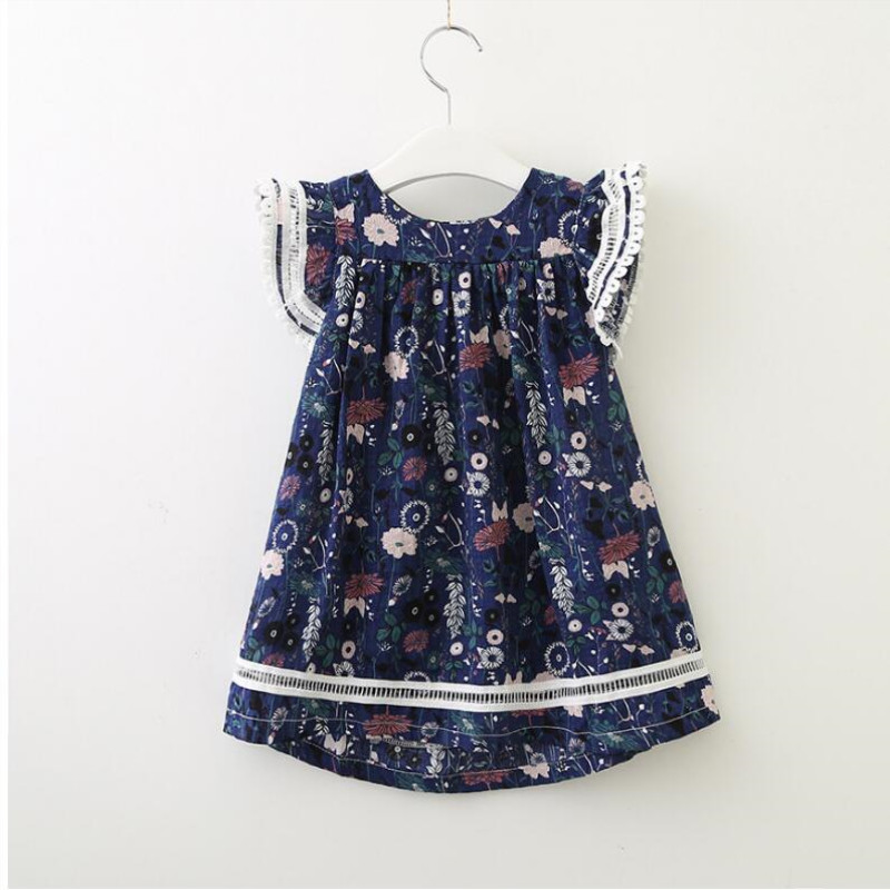 AJLONGER new fashion Infant Kid Girl dress floral printed Casual Dresses One Piece Costume a line dress in Dresses from Mother Kids
