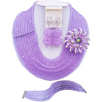 ACZUV Lilac Crystal Beads African Necklace Nigerian Wedding Party Jewelry Sets 10C DS013