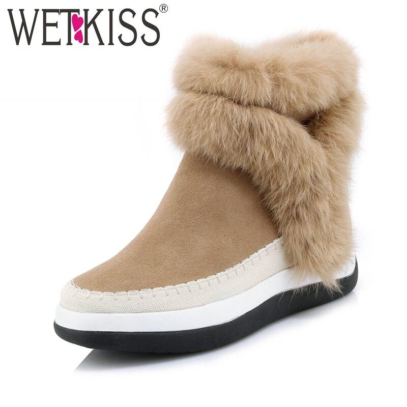 WETKISS Confortable Chaud Fourrure Bottes D'hiver Marque Coins Plate-Forme Des Femmes Chaussures En Cuir Véritable Suede Cheville Bottes En Caoutchouc Sole Zipper