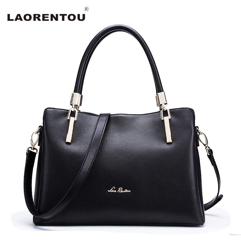 LAORENTOU Ladies Leather Luxury Handbags Women Bags Designer Ladies Shoulder Bag Cowhide Leather Crossbody Bag Casual Tote N5