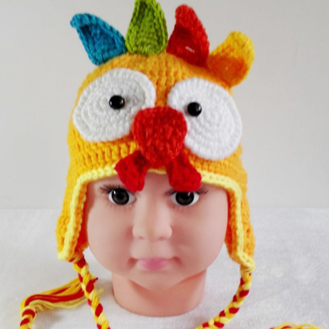 dd642ee8 Baby Hat Crochet Ear Bird Bonnet 0-12 Months Hat Handmade Knit Soft Crochet  Bonnet Newborn Photography Props Caps Colorful Hats