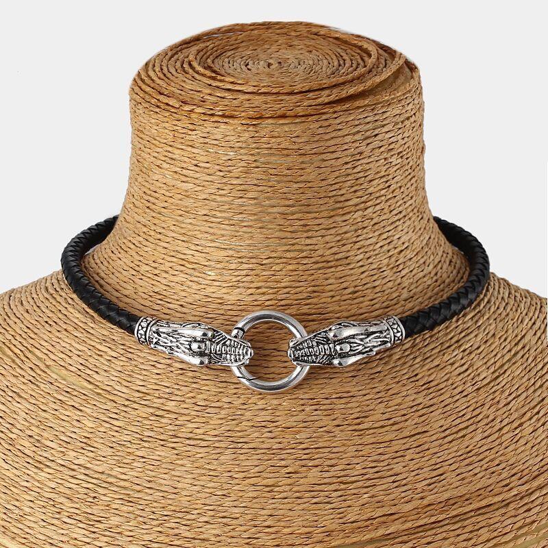 """Γνήσιο δερμάτινο κολιέ Choker Dragon Collar / Choker με μαύρο πλεκτό δέρμα 13 """"-17"""""""