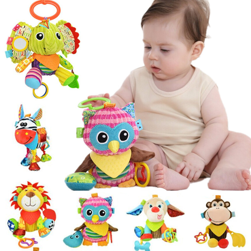 Baby Kid Developmental Toys Animal Soft Stuffed Plush Toys Rattles Infant Toys I