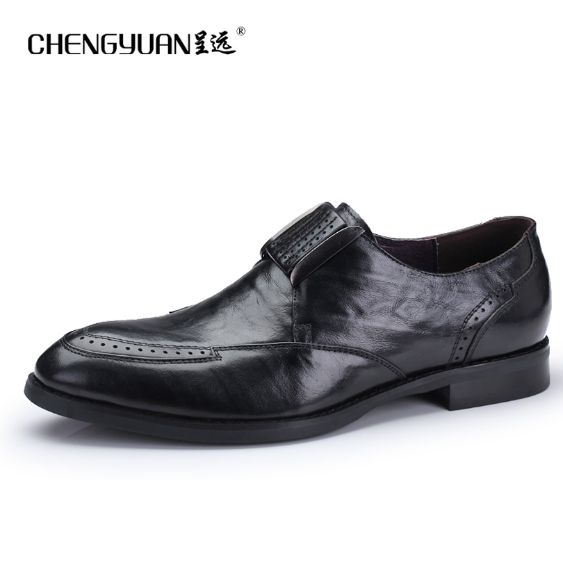 цена на men's leather dress shoes for men Bullock carved metal black buckle wedding business party leather shoes