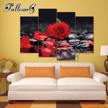 FULLCANG 4pcs diy diamond painting red rose flowers & stone mosaic cross stitch rhinestone embroidery full drill gift G1257