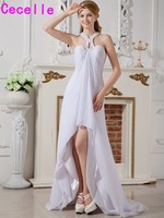 Sexy Hi Lo Open Back Reception Wedding Dresses With Straps White Bridal Dresses Short Front Long Back Rehearsal Dinner Dress