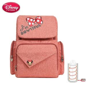 Image 2 - New Disney Mummy bag mickey mouse bag diaper bag backpack mom baby bags Maternity Handbag USB cup heating