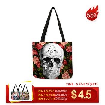 e81276be3 Floral cráneo personalizado bolsa de bolsos para las mujeres dama Eco bolsas  de compras reutilizables de viaje