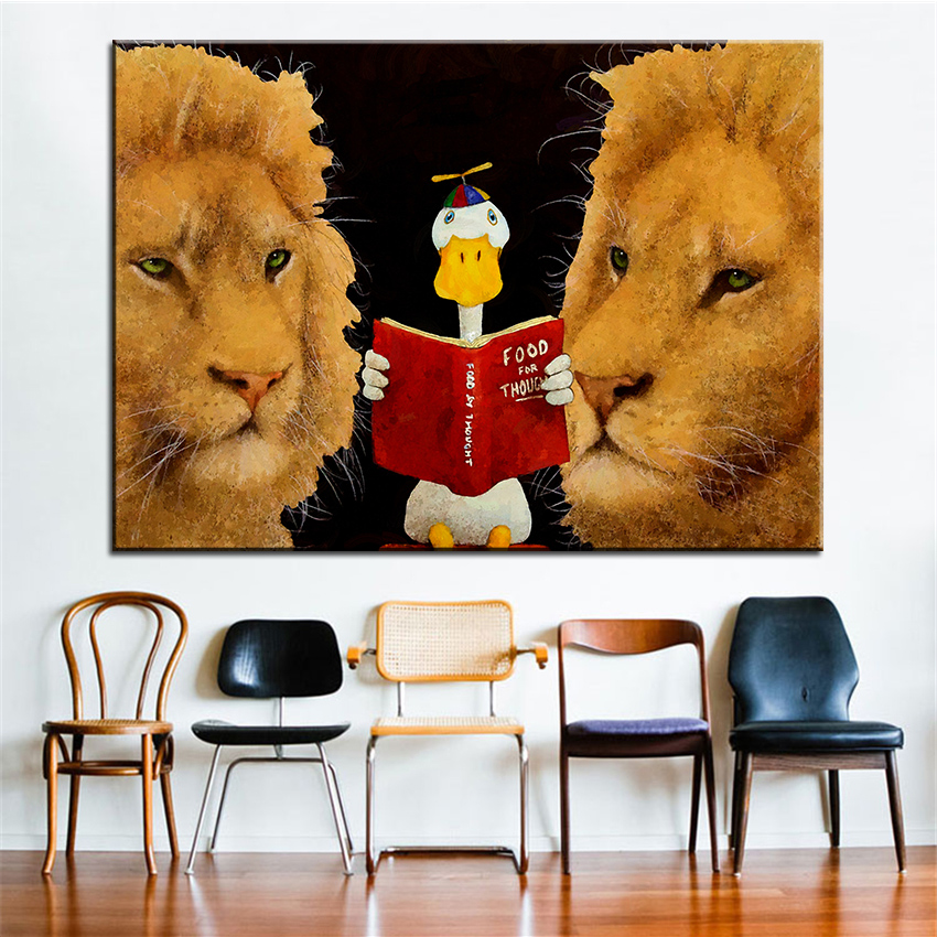 Large size Printing Oil Painting reading the lions Wall painting Steampunk Wall Art Picture For Living Room painting No Frame