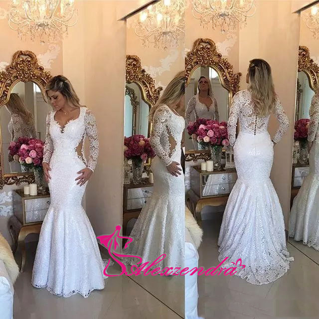 Alexzendra Long Sleeves Lace Mermaid   Prom     Dresses   2018 Appliques Robe De Soiree longue 2018 Formal Evening   Dress   Plus Size