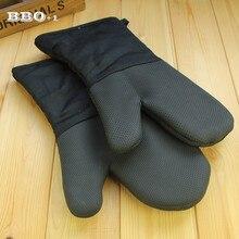 2 шт. черные кухонные перчатки для барбекю, выпечка, инструмент, изолированные мягкие длинные перчатки для духовки, кухонные аксессуары
