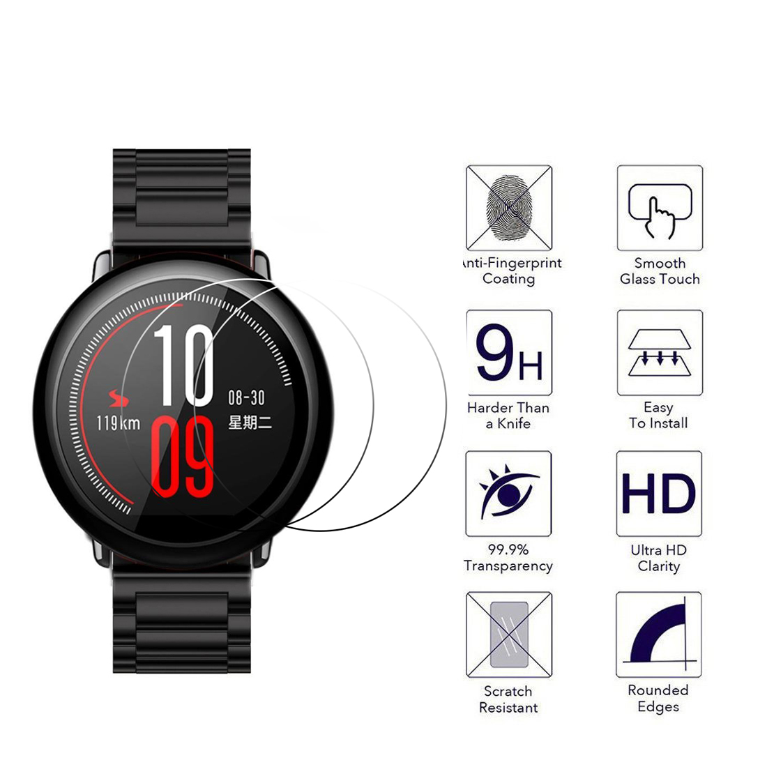 2.5D9H Screen Protector Film For Xiaomi Huami Amazfit Pace Sports Smart Watch Premium Clear Tempered Glass Protective Film Guard