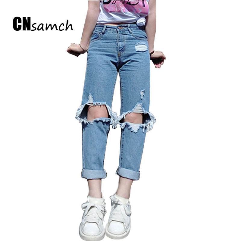 2017 Boyfriends Korea New Knees Hole Torn Jeans Women Loose Washed Wear Beggars Pants Spring and