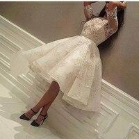 Пышное вечернее платье цвета слоновой кости с круглым вырезом с аппликацией расшитый кружевом Халат с коротким рукавом de soiree Плиссированно