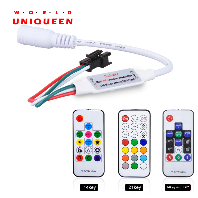IR RF 14key 21key DIY mini little led pixel strip light controller for WS2811 SK6812 WS2812B 1903, with remote controller t1000s sd card led controller pixel controller for ws2812 b2812b dmx512 ws2811 ws2801 lpd8806 apa102 rgb controller