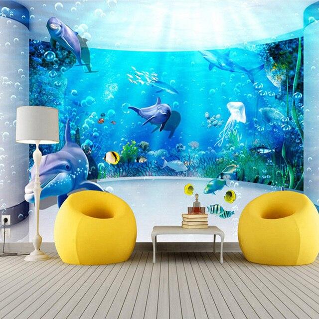 Benutzerdefinierte Große Wandmalerei 3D Erweiterte Platz Aquarium ...