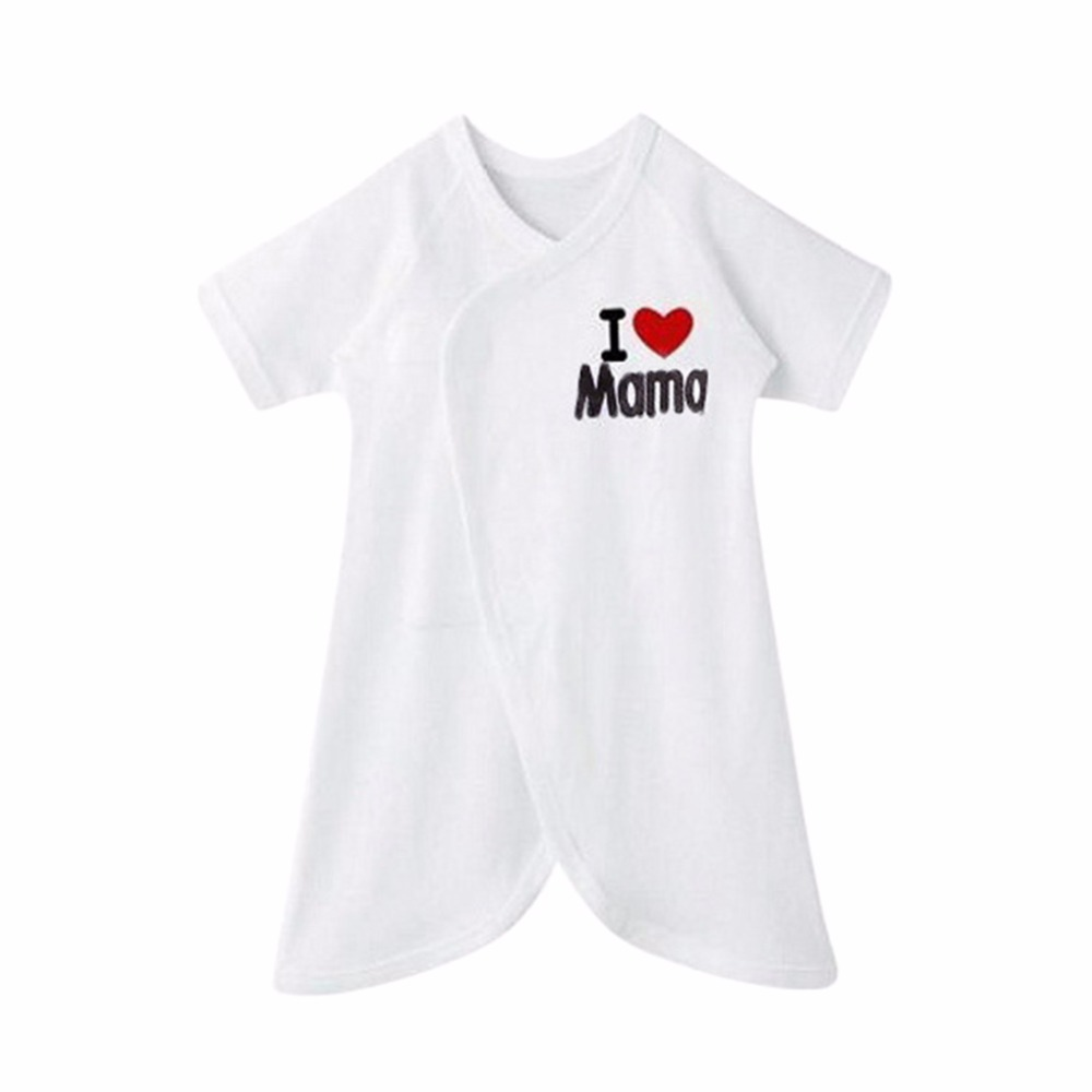Newborn Infant Baby Print Letters Comfort Cotton   Romper   Clothes White