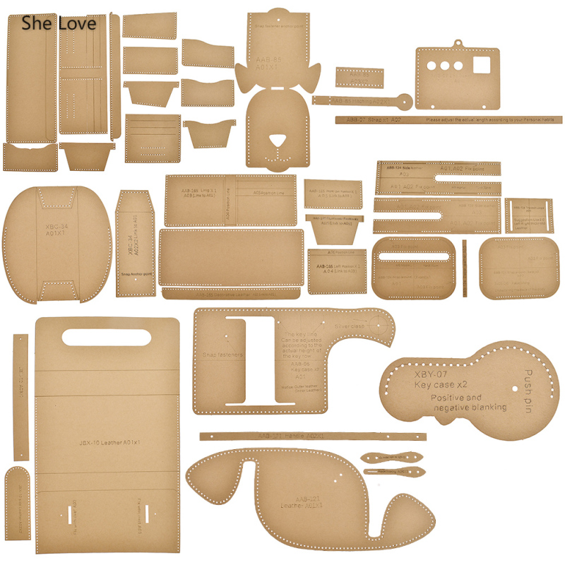 She Love 10 Styles Leather Tools Set Crafts Puppy Key Case Card Cowhide Paper Leather Template Stencils Diy Leathercraft Tools