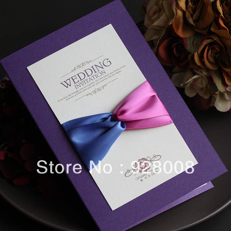 30 pcs/lot Vintage Purple Ribbon Bow Cutout Wedding Invitation ...