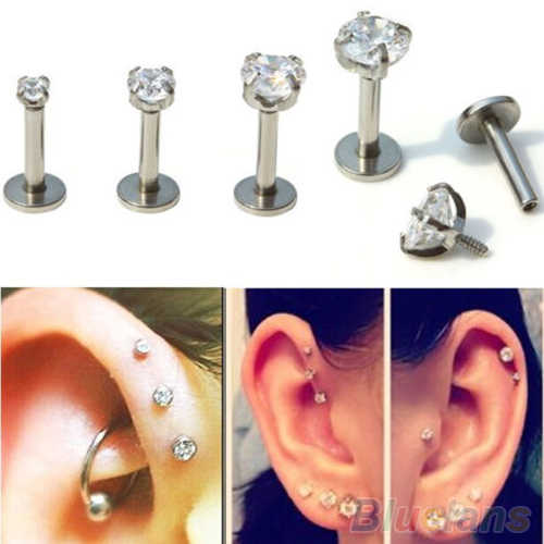 2Pcs Cubic Zirconia Tragus Lip Ring Monroe Cartilage Earring Tongue Studs Cartilage Tragus Helix Ring Charming Jewelry