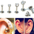 2 Pcs Cubic Zirconia Tragus Lip anel Monroe orelha cartilagem brinco pregos língua 4QK4