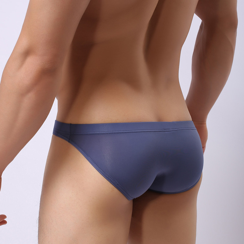 Sexy Men's Underwear U Convex One-piece Ultra-thin Transparent Ice Silk Men's Briefs Large Size Low Waist Sexy Shorts Men