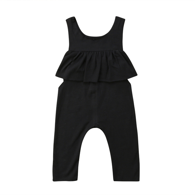cc4c973f234f SummerSummer Toddler Baby Kids Girl Ruffle Halter Black Grey Solid Sleeveless  Romper Jumpsuit Outfits Clothes