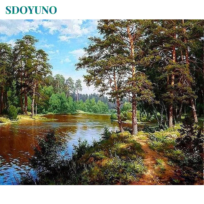 SDOYUNO Frameless-Painting Numbers Nature-Landscape-Pictures Home-Decoration For Gift