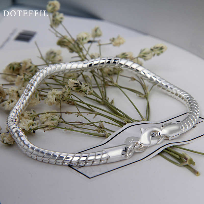 1 st 925 Sterling Silver Hummer Clasp Snake Chain Fit Europa Charm - Märkessmycken - Foto 5