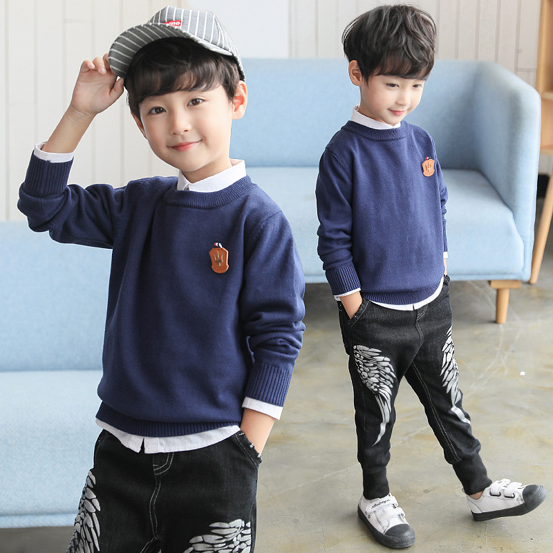 Boy Sweater Kids Clothes 2018 Autumn Winter Long Sleeve Sweater O-neck Knit Children Sweater 4 5 6 7 8 9 10 11 12 13 Years Tops geometric spliced print round neck long sleeve sweater