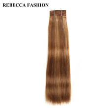 Rebecca Brazilian Remy Silky Straight Weave Pre-Colored Medium Brown Blonde Human Hair Bundles 113g 1pc For Salon P6/27