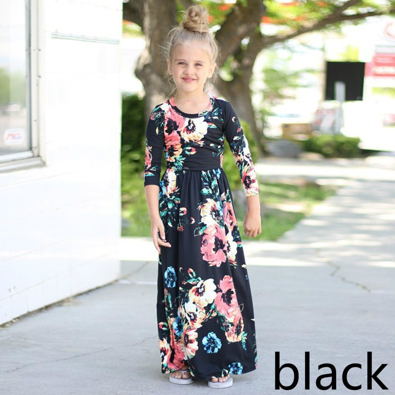 2018 New Girls Long Dress Floral Dresses Black Autumn Winter Flower Printing Party Costume Kids Children Dress New Year Dress 2016 new autumn girls costume european&american style kids dress for girls fashion lace floral child long sleeve dress