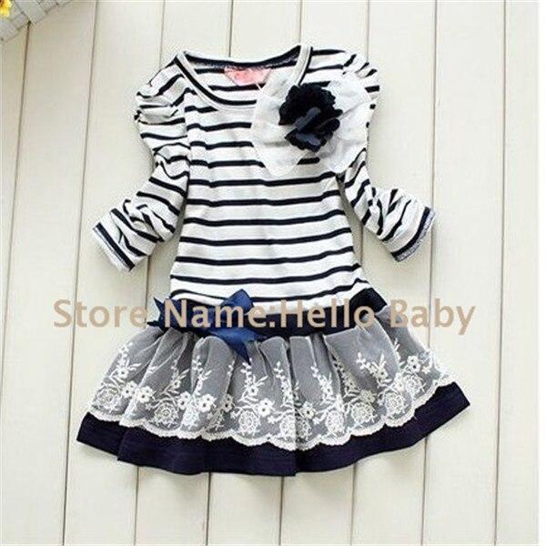 2014 Girl Winter Dress,Long Sleeve Dress,Kids Navy Striped Dresses,Dress