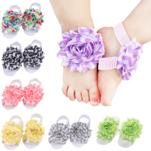 Baby Foot Flower Wristband Barefoot Sandals Folds Chiffon Flower Socks Cover Barefoot 20pairs Per Lot barefoot over stones