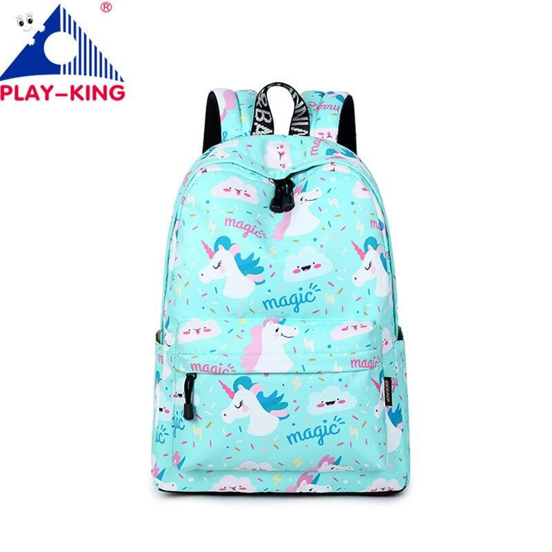 511dda4a6169 Playking Симпатичные Единорог школьный рюкзак для девочки-подростка печати  рюкзак холст животного рюкзаки путешествия рюкзак сумка