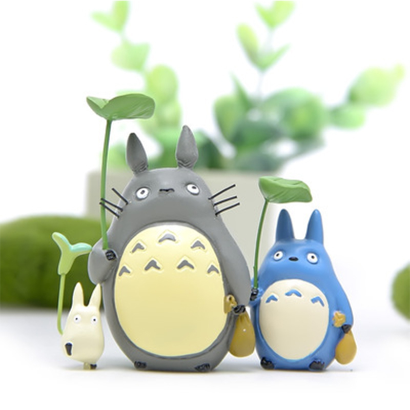 Japan Mini Totoro Action Figure Resin Toys Set Ghibli Miyazaki Anime Lucky Totoro Figurine Model Collectible Deco For Kids Toys