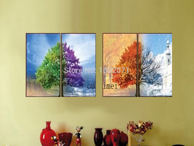 Unique Wall Decor Four Seasons Tree Oil Painting With Hand Painted ...