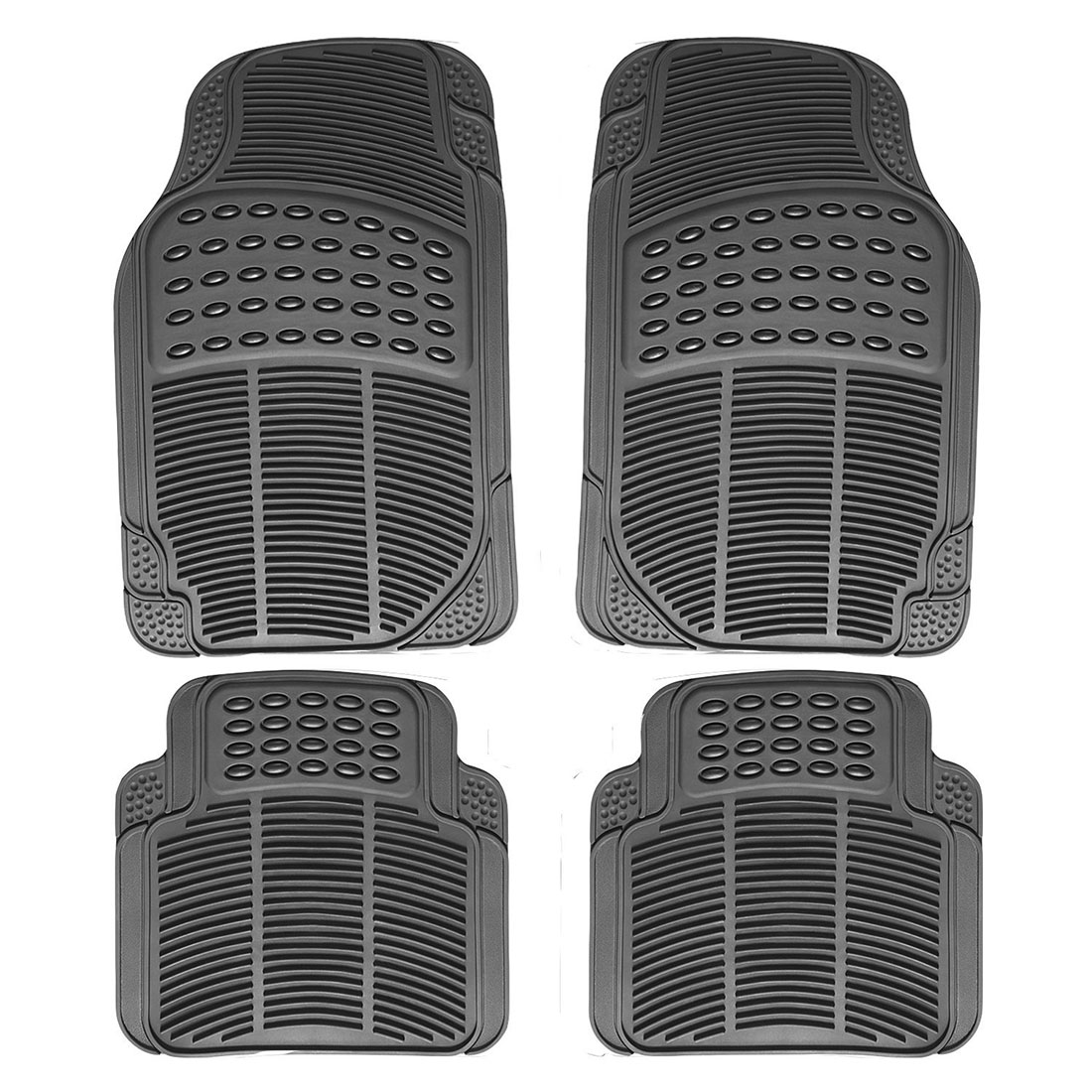 Rubber floor mats price - Auto Multi Season Rubber Floor Mats 4pc Set Black Fit Most Cars Suvs Vans