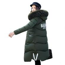 Winter Women Hooded Coat Fur Collar Thicken Warm Long Jacket women's coat girls long slim big fur coat jacket Down Parka WU51