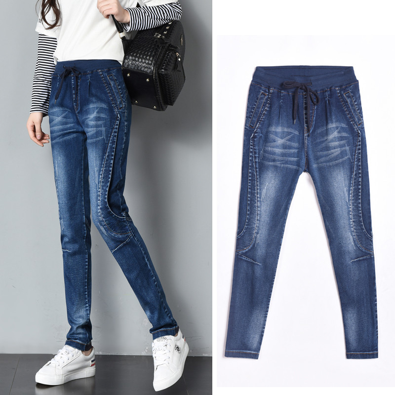Lace Up Jeans Woman Punk Patchwork High Waist Jeans Femme Stretch Ripped Denim Pants Skinny Pencil Jeans Trousers Women C3720 new embroidered flower skinny stretch high waist jeans without ripped woman floral denim pants trousers for women jeans j18 z35