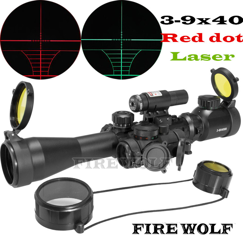 FIRE WOLF Hunting Airsoft Optics 3-9X40 Illuminated Red Laser Riflescope with Holographic Dot Sight Combo Gun Weapon Sight 1set riflescope hunting optics rifle 3 9x40 illuminated red green laser riflescope w holographic dot sight airsoft weapon sight
