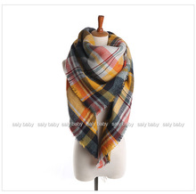 Hot2015 women pashmina winter check tartan shawl wrap scarf wholesale fashionable scarf winter check tartan shawl wrap scarf